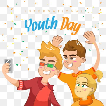happy youth day background with people having fun, Youth, World, International PNG and Vector