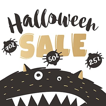 halloween poster for sale in hand drawn style with a black monster in black and gold colors, Png, Holiday, Halloween PNG and Vector