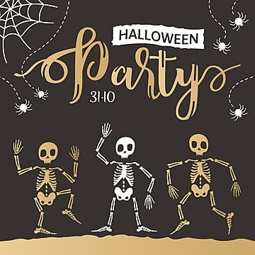 Halloween poster in hand drawn style with dancing skeletons in black and gold colors, Png, Holiday, Halloween PNG and Vector
