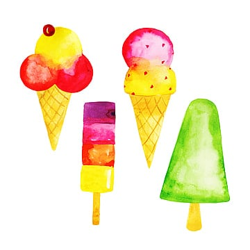 Watercolor Ice cream on stick Clipart digital for instant download Icecream with chocolate and fruit elements set PNG files DIY 71