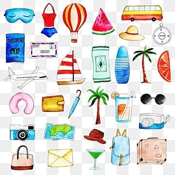 collection of travel elements watercolor, Color, Paint, Collection PNG Images and vector graphics