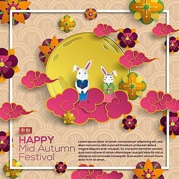 happy mid autumn festival with rabbit and moon, Chuseok, Autumn, Mid Autumn PNG and Vector