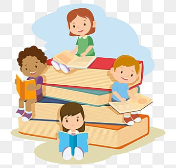 children reading book, Education, School, Kids PNG and Vector illustration image