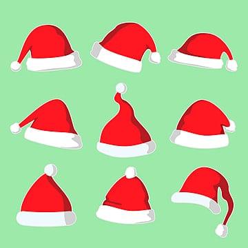 d42d906141624 Christmas Santa Hat Vector Illustration Set