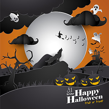 halloween paper art greeting card, Halloween, Wolf, Paper Art PNG and Vector