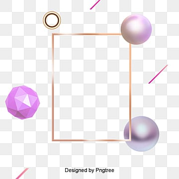 Fashion 3D frame geometry elements, Elements, 3D Elements, Gold PNG and PSD