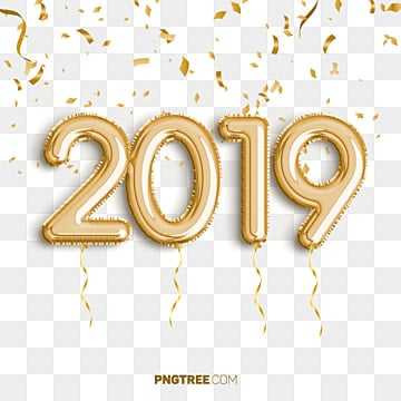 2019 golden balloon new year celebrate, Newyear, Happy Newyear, 2019 PNG and PSD