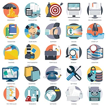 business  technology and finances icon set for websites and mobile applications, Accounting, Blogging, Business PNG and Vector