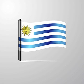 uruguay waving shiny flag design vector, 25, 25th, August PNG and Vector