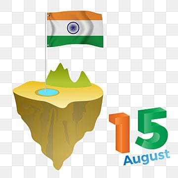 15 august india independence day 3d text style with india flag, India Flag, Indian Independence Day, 3d Text PNG and Vector