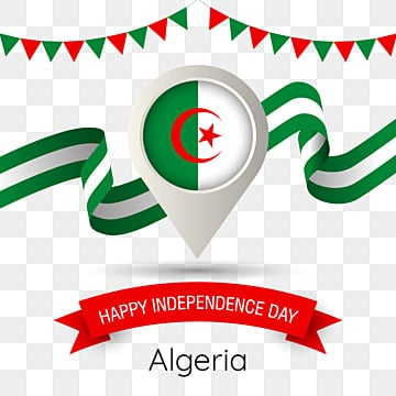 algeria independence day with stylized country flag pin illustration, Algeria, Happy Independence Day, Flag PNG and Vector