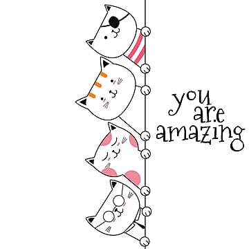 animal cat cartoon hand drawn style red illustration image