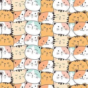 Cute cat hand drawn style pattern, Pattern, Cat, Background PNG and Vector illustration image