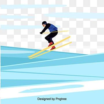 만화 자유형 남자 스키 장치, 스포츠, 레저, 옥외 운동 PNG 및 벡터