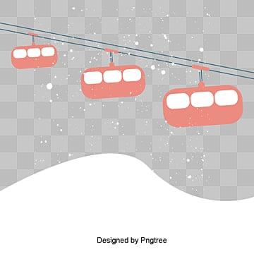 만화 설산 옅은 붉은 케이블카 삽화, 케이블, 케이블 카, 만화 PNG 및 PSD