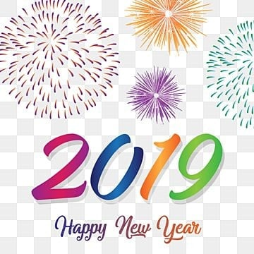 happy new year 2019 with colorful fireworks year new happy png and vector