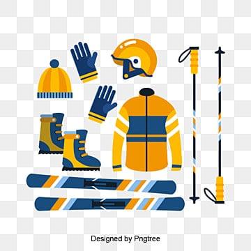 아이콘 설정 노란색 재료, 노란색, 스키 투구, 장갑 PNG 및 PSD
