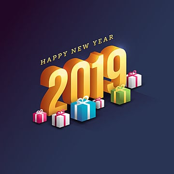 Happy New Year 2019 Greeting Card with trendy background illustration, Year, Celebrate, Happy PNG and Vector