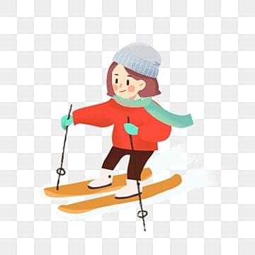 자유형 만화 여자 스키 삽화, 간단한, 자유형, 만화 PNG 및 PSD