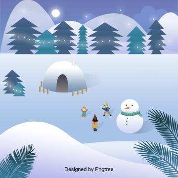 눈 오는 겨울 야외에서 눈싸움 삽화 화살량, 눈하늘, 눈싸움을 하다, 아웃도어 PNG 및 PSD