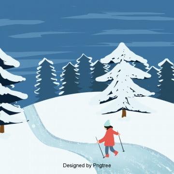 베이직 블루 겨울 스키 플러그, 겨울, 베를리, 적설 PNG 및 PSD