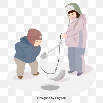 한국 겨울 낚시 어린이 야외 오락, 모란디, 고급 회색, 간략하다 PNG 및 벡터