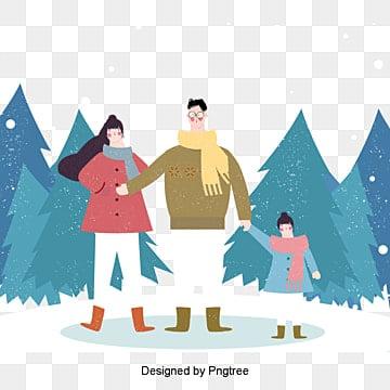 겨울 생활 얕은 삽화 한 집 한 집 보다 눈 풍경 삽화, 동계 생활, 남자, 여자 PNG 및 PSD
