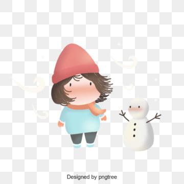 겨울 귀여운 소녀 삽화, 손잡다, 여자 아이, 눈사람 PNG 및 PSD