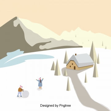 겨울 야외 설경 삽화 원소, 겨울철, 아웃도어, 눈덩이를 굴리다 PNG 및 PSD