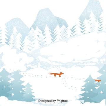 군더더기 겨울 산림칸 의 여우 배경, 겨울, 간략하다, 산뜻하다 PNG 및 PSD