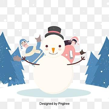 겨울 생활 커플 눈사람 눈싸움 삽화, 동계 생활, 남자, 여자 PNG 및 PSD