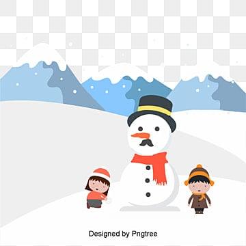 겨울 소인배 눈사람 장면, 겨울, 눈밭, 소인 PNG 및 벡터
