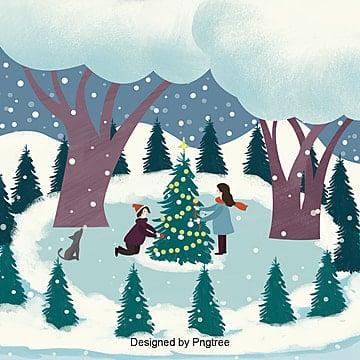 상큼한 겨울 크리스마스 커플 장식 크리스마스 트리 그림 배경 성탄, 겨울, 겨울철, 커플 PNG 및 PSD