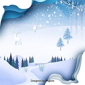 입체 겨울 설날 설경 배경, 한국, 한국, 눈꽃 PNG 및 PSD