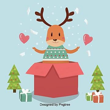 귀여운 사불상 및 크리스마스 삽화 성탄, 사불상, 유쾌, 축제 PNG 및 PSD