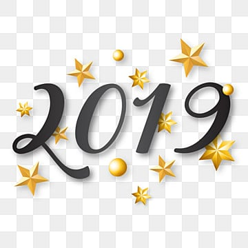 new year 2019 written lettering with golden christmas stars 2019 new year png