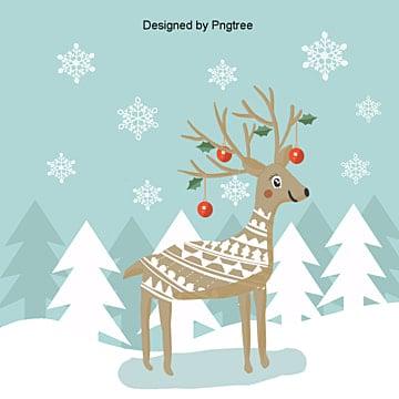 냉색, 상큼하고 귀여운 산타 사슴, 크리스마스, 산타 사슴, 작은 사슴 PNG 및 PSD