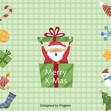 귀여운 산타클로스 선물 풋풋 체크 배경, 성탄절, 작은 신선한, 삽화 PNG 및 PSD