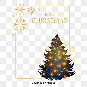 pure golden color christmas tree frame, Frame, Christmas Frames, Christmas PNG and PSD
