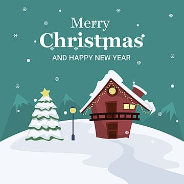 christmas landscape card of house and tree in the middle of snow, Christmas, House, Winter PNG and Vector