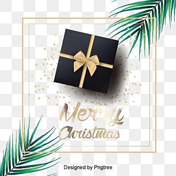 잣나무가지 장식 선물케이스 크리스마스 테두리 배경, 선물케이스, 소나무 가지, 금색 테두리 PNG 및 PSD