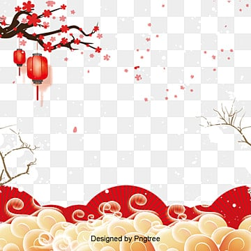 plum blossom red lantern fan xiangyun frame text box texture tradition png and