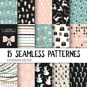set of christmas different seamless patterns, Set, Christmas, Pattern PNG and Vector