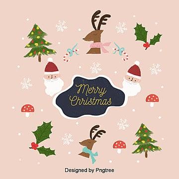 크리스마스, 귀여운 삽화 배경, 사불상, 눈꽃, 버섯 PNG 및 PSD