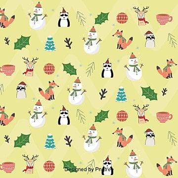크리스마스 캐릭터 맑은 귀여운 포장지 배경, 카툰, 크리스마스, 여우 PNG 및 벡터