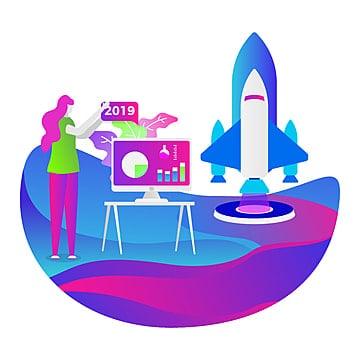 चित्रण एक व्यवसाय शुरू की वेबसाइट के विकास और एक मोबाइल वेबसाइट, कंप्यूटर, रॉकेट, चार्ट पीएनजी और वेक्टर