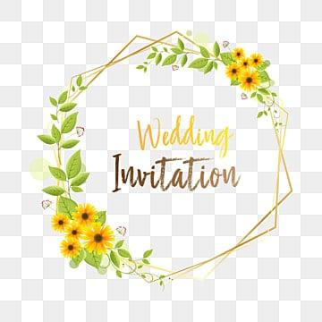 Elegant Wedding Invitation Frame, Floral Frame, Graphic PNG