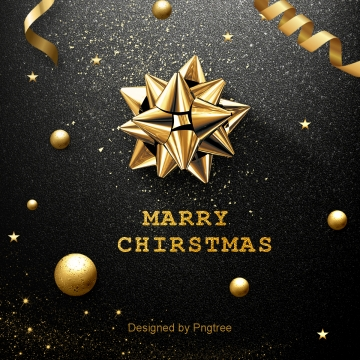 black luxury merry christmas background, In The Winter, Golden Bell, Flower PNG and PSD
