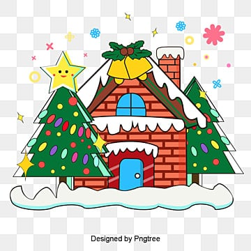 christmas house the snow  the christmas tree is green, Christmas, Snow Scenes At Christmas., Snow Scene PNG and Vector