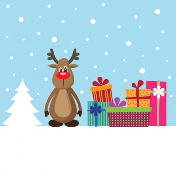 Christmas card with deer and gifts on the snow, Animal, Background, Banner PNG and Vector